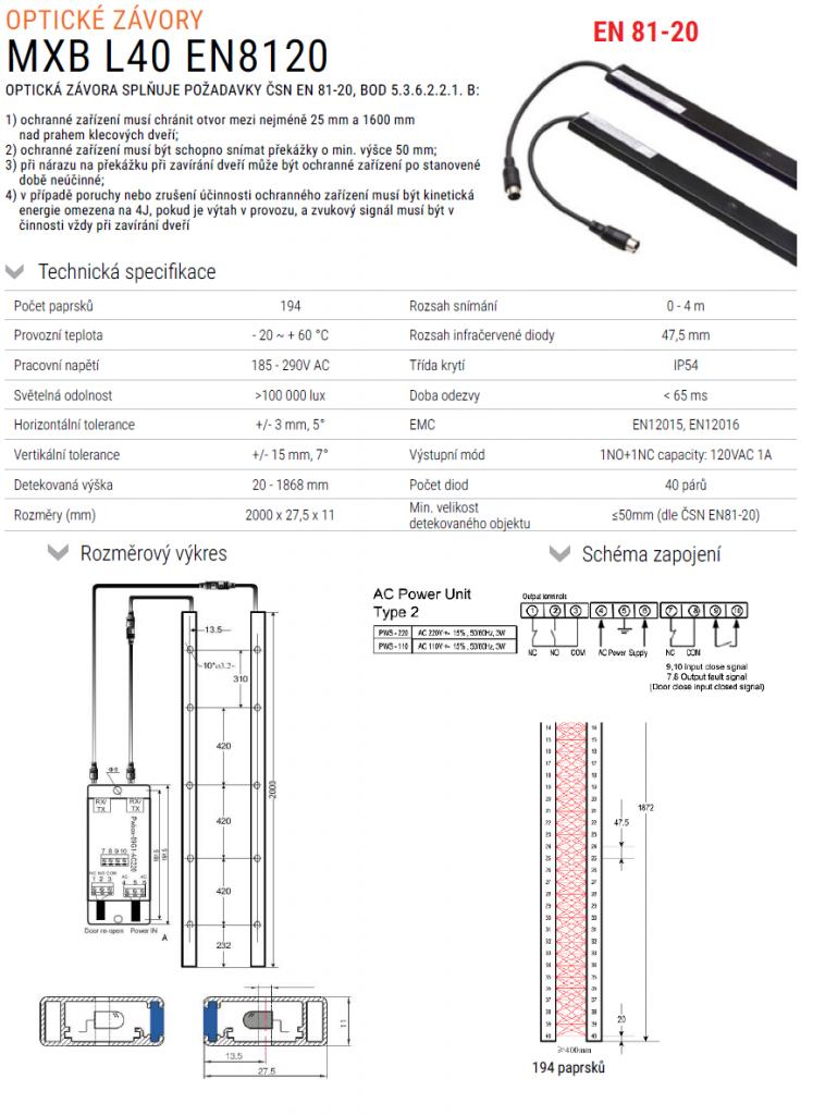 Optické závory MXB L40 dle ČSN EN 81-20